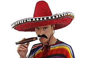 6 X MEXICAN STRAW SOMBRERO HATS + 6 MOUSTASHES IDEAL FOR FANCY DRESS OR STAG NIGHT