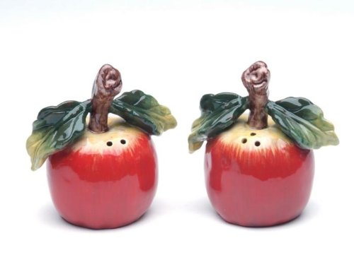 Red Apple with Stem and Leaf Salt & Pepper 2-Piece Set Collectible