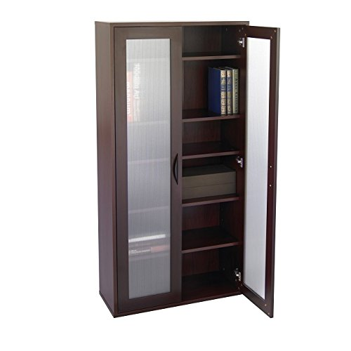 Mahogany Organizer Unit 29.75Wx11.75Dx59.5H in 75-inch furniture-grade laminate wood black handle 5 shelves adjustable in 2.5-in Storage Bookcase frosted ribbed Glass Doors Storage Mahogany 5 Shelf Bookcase
