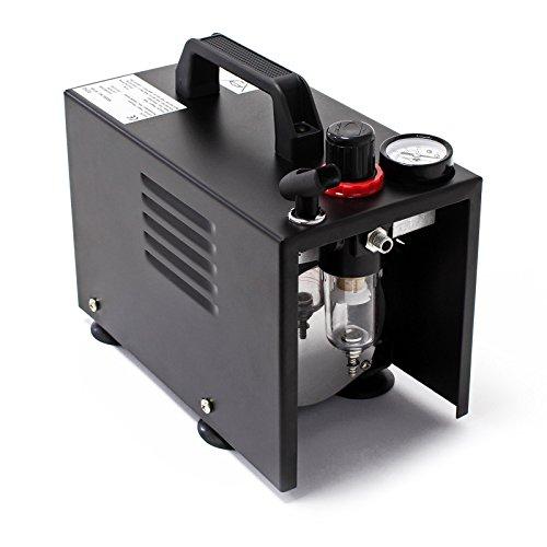 Airbrush-Kompressor-AF18B-kompakt-mit-Manometer-Druckminderer-Abschaltautomatik