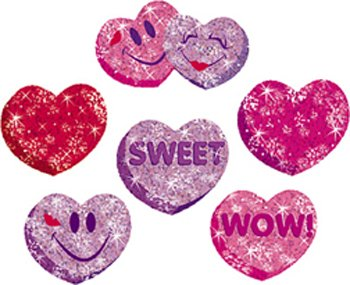 21 Pack TREND ENTERPRISES INC. SPARKLE STICKERS HEART HOORAYS