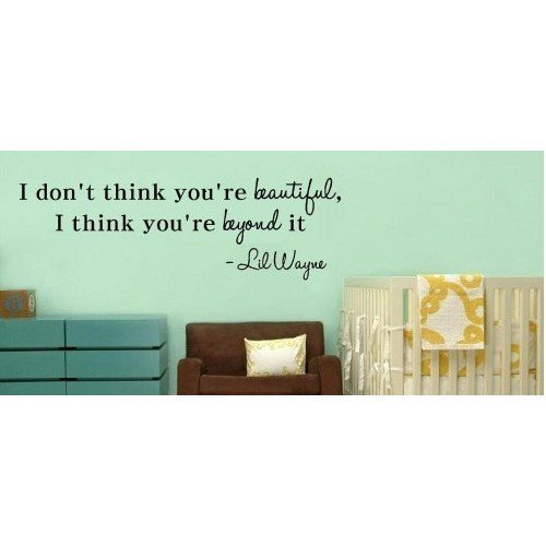 I Dont think you're beautiful, I think you're beyond it Lil Wayne wall art qu... (Lil Wayne Quotes Wall Decor compare prices)