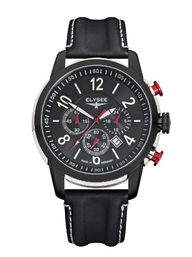 Elysee Race 1 Men's Quartz Watch with Black Dial Chronograph Display and Black Leather Strap 80524L