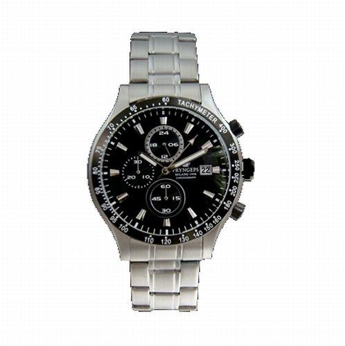 Pryngeps - Orologio Cronografo Acciaio Satinato Nero Uomo - CR596