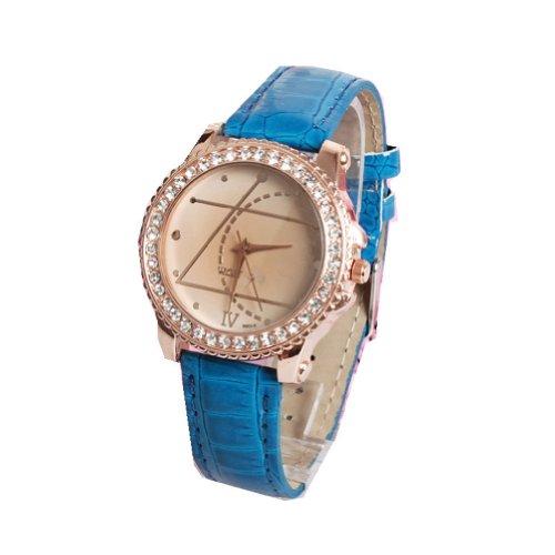 WLM Blue Geometry Pattern Design Leathroid Made Band Quartz Wrist Watch Clock
