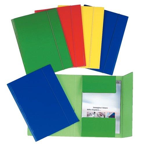 Esselte 390346050 Set di 5 Cartelle a tre lembi plastificate, 550 gr/mq, A4, Blu
