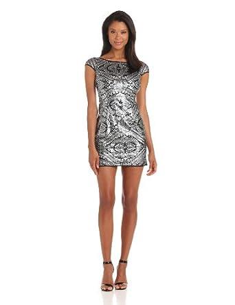 Adrianna Papell Women's Petite Cap Sleeve Shift Sequin Dress, Silver, 4 Petite