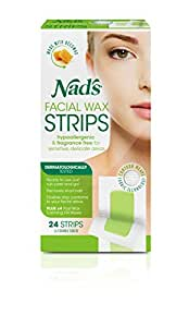 Nad's Hypoallergenic Facial Wax Strips, 24 strips (Pack of 2)