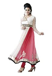 Fabdeal Chiffon Embroidered Semi-Stitched Salwar Suit ( EOC2DR9612SWGT_White )