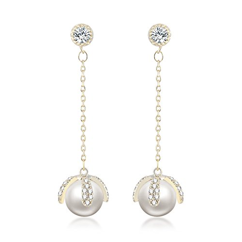 Orecchini per donne forma di fiori - Placcato oro 18K - Naturale perla d'acqua dolce 8 mm - AAA Zirconi