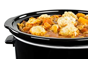 Andrew James 8 Litre Premium Black Slow Cooker with Tempered Glass Lid, Removable Ceramic Inner Bowl and Three Temperature Settings, Includes 2 Year Warranty