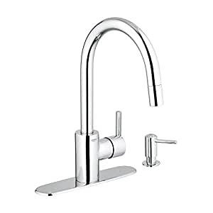 Grohe 30126000 feel kitchen pull down chrome value pack includes soap dispenser and 10 inch - Grohe kitchen faucets amazon ...