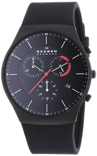 Skagen - SKW6075 - Montre Homme - Quartz Chronographe - Bracelet Silicone Noir
