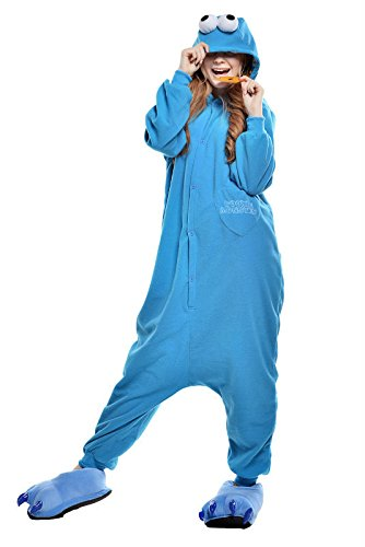 Newcosplay Unisex Sesame Street Cookie Monster Pyjamas Sleeping Wear Kigurumi Halloween Onesie Costume Cosplay