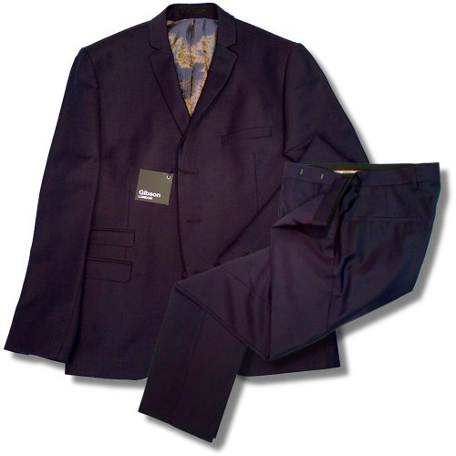 Gibson London Slim Fit 3 Covered Button Mod Suit Deep Purple 36 chest / 30 waist