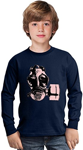 Gas Mask Purple Amazing Kids Long Sleeved Shirt by True Fans Apparel - 100% Cotton- Ideal For Active Boys-Casual Wear - Perfect For A Present Unisex 7-8 years