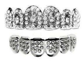 Hip Hop Platinum Silver Plated Removeable Mouth Grillz Set (Top & Bottom) Royal Crown