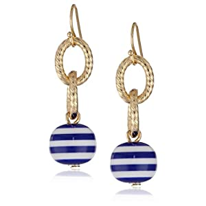 Gold-Tone Nautical Striped Ball Dangle Earrings