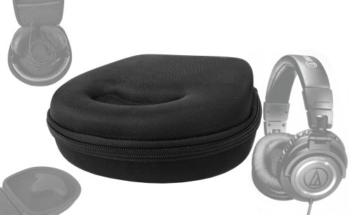 Duragadget Portable Hard Headphone Case For Audio Technica Ath-M30, M40 & M50, Ath-Re70Wh With Netted Compartment