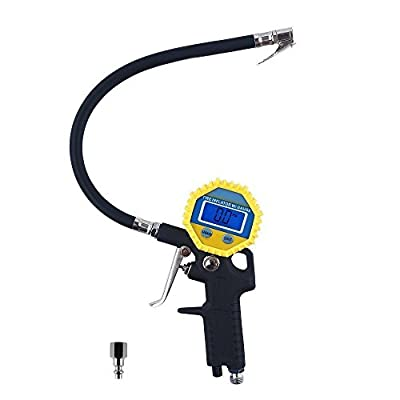 KULAIPU Electric Digital Tire Air Inflator with Rubber Hose and Pressure Gauge, Range from 0-150 PSI