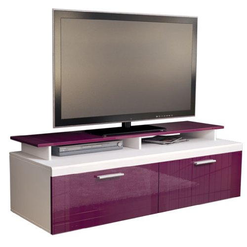 TV Stand Unit Atlanta in White / Raspberry High Gloss with TV Stand Black Friday & Cyber Monday 2014
