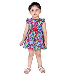 NAVEENS Blue Cotton Party wear Round Neck Dress for Girls