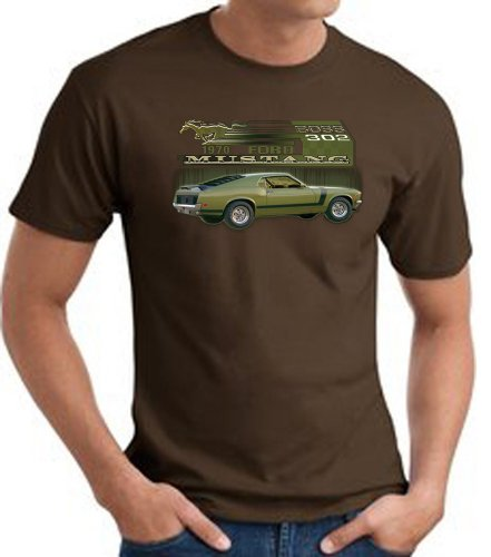 Ford Car 1970 Mustang Boss 302 Classic Adult T-Shirt Tee - Brown, Small
