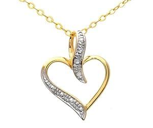 Collier Femme avec pendentif - PP03816Y - Coeur - Or Jaune 375/1000 (9 Cts) 0.7 Gr - Diamant