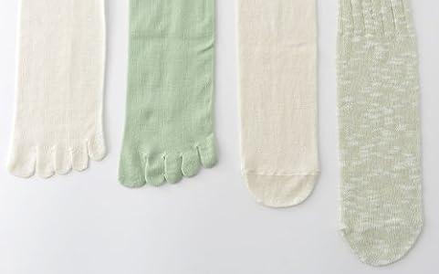 冷えとり靴下/1、2枚目5本指タイプ(シルク/綿)重ね履きソックス4枚重ねセット/4枚目 麻混