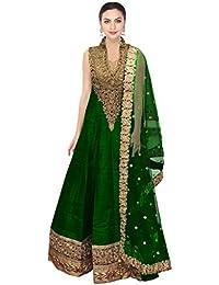 Designer Beautiful Green Raw Silk Embroidery Work Semi-Stitched Lahenga Choli