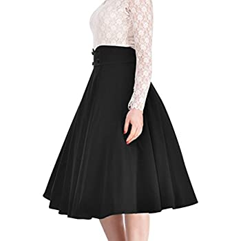 Miusol Women's Vintage High Waist A-line Retro Casual Swing Skirt
