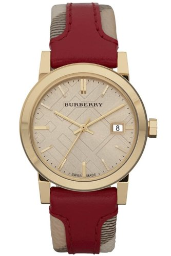 Burberry BU9111 Women's Swiss Haymarket Check Fabric & Red Leather Band watch