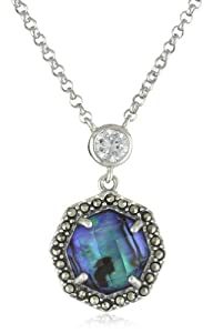 "Judith Jack ""Blue Maldives"" Sterling Silver, Blue Abalone and  Swarovski  Marcasite Pendant Necklace"