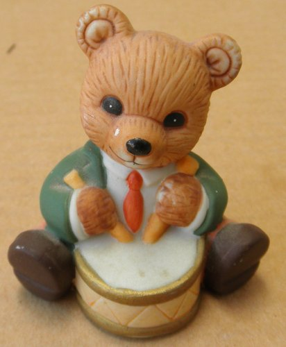 Homco Ceramic Bear Playing Drum - 2 1/4 inches