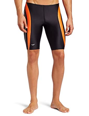 Speedo 8051202 Boys Rapid Spliced Jammer(Youth), Black/Orange, 22