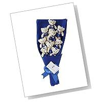 [モモショップ] MOMO shop くま 花束 テディベア 花束 出産祝い 、誕生日 、結婚記念日 、お世話になった方へ ベア がいっぱいの メッセージカードつき サプライズ 花束! (ブルー)