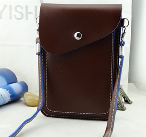 Big Mango Multipurpose Big Capacity Two Separated Pouches Cell Phone Pu Leather Bag Crossbody Purse For Apple Iphone 4 4S Iphone 5 5S,5C Samsung Galaxy S4 S3 Galaxy Note 2 Note 3 Htc Money Key Cards With Long Shoulder Strap & Magnetic Snap Buttom Closure