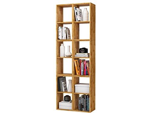 Set-Regale-Set-Bcherregal-Bibliothek-COMFORT-mit-offenen-Fcher-Eiche-massiv-gelt-72x212