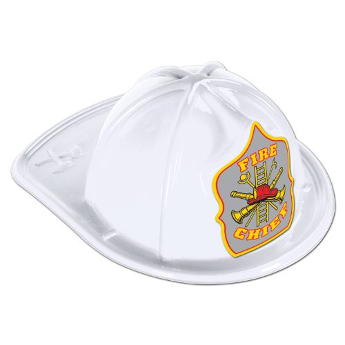 White Plastic Fire Chief Hat (silver shield) Party Accessory  (1 count)