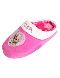 Disney Frozen Elsa Girl's Warm Clog Mule Pink Heart Indoor Slipper (Toddler/Youth)