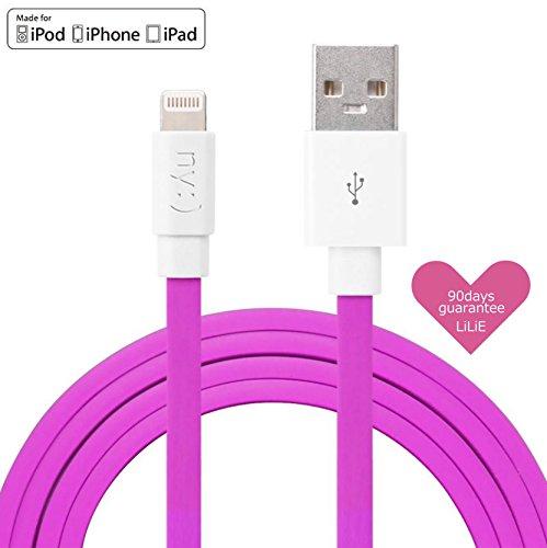 LiLiE Apple 認証取得 MFi (Made for iPod/iPhone/iPad) 急速充電2.4A対応 断線に強い設計 名古屋きしめんタイプ Lightning ライトニング ケーブル (1m, ピンク)