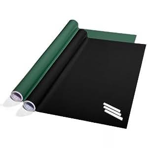tafelfolie set selbstklebend 60x300cm inkl kreide zwei farben w hlbar schwarz amazon. Black Bedroom Furniture Sets. Home Design Ideas