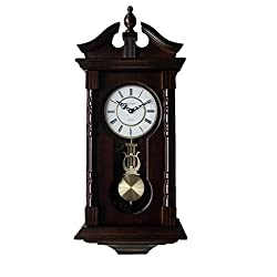 Wall Clocks: Grandfather Wood Wall Clock with Chime. Pendulum Wood Traditional Clock. Makes a Great House Warming or Birthday Gift. vmarketingsite Pinnacle Grandfather Pendulum Wall Clock Chimes Every Hour With Westminster Melody.