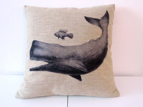 "Decorbox Cotton Linen Square Throw Pillow Case Decorative Cushion Cover Pillowcase for Sofa Whale and Fish Friend 18 ""X18 """