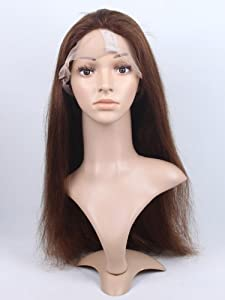 1688 Hair Front Lace Wig 100% Real Human Hair Remy Indian Hairs Handmade Pop Wigs Natural Straight 20 Inch (4# Medium Brown)