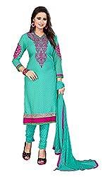 Radhey Fashion Women's Cotton Salwar Suit Material (Blue)