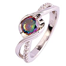 buy Psiroy 925 Sterling Silver Stunning Created Gorgeous Women'S 6Mm*6Mm Round Cut Cz Rainbow Topaz Filled Ring