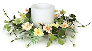 Pack of 6 Artificial Green, Yellow and Peach Mini Daisy Floral Candle Rings 15""