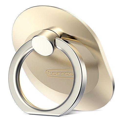 リングホルダー TORRAS バンカーリング スマホリングスタンド 指輪ホルダー iPhone / iPad / Galaxy / Android / タブレット 通用 リングスタンド 指輪 落下防止 (ゴールド)