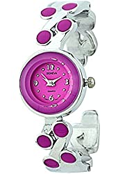 SMALL ROUND FACE CUFF WATCH WITH DOTS SOLID COLOR ON BAND 2172
